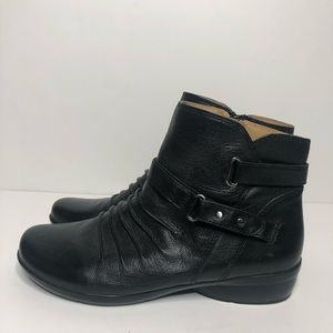 Naturalizer Cassini Black Leather Ankle Boots EUC